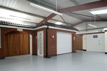 White garage door and side door