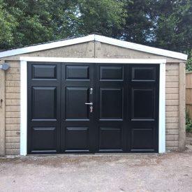 BGID Rowley Range side-hinged garage door in black
