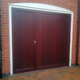 Side-hinged garage door timber