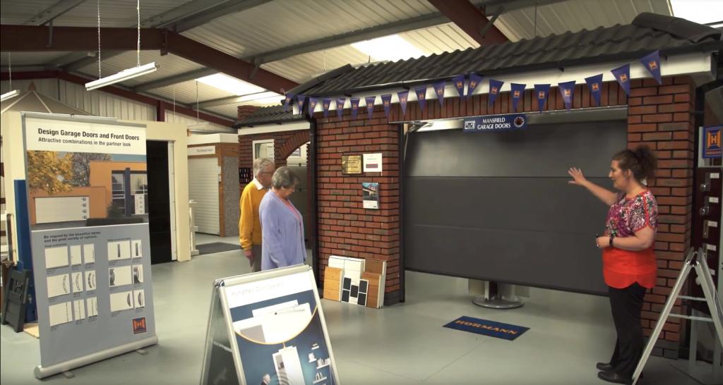 customers visiting garage door showroom